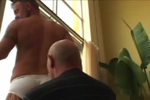 old dude discharges his sperm In The condom while plowing A Daddy