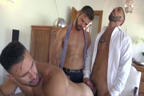Muscle gay threesome And ejaculation
